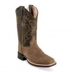 Old West Kids Olive Tan Square Toe Cowboy Boots