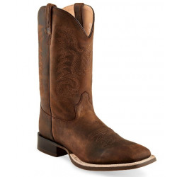 Old West Men's Broad Square Toe Brown Western Boots