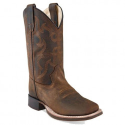 Old West Kids Brown Square Toe Cowboy Boots