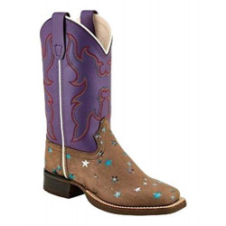 Old West Girl's Purple Brown Stars Cowboy Boots