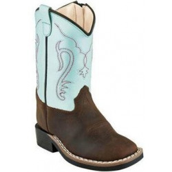 Old West Toddler Turquoise Brown Western Boots