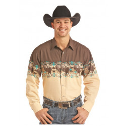 Panhandle Brown Men's Bull Rider Border Snap Front Western Shirt