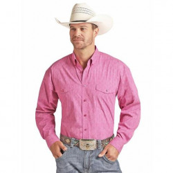 Panhandle Men's Solid Pink Button Down Western Shirt