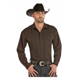 Panhandle Men's Black With Colour Highlighs Snap Front Western Shirt