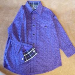 Panhandle Boy's Purple Black Print Snap Western Shirt