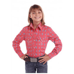 Panhandle Girl's Salom Cactus Print Western Shirt