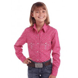 Panhandle Girl's Pink White Arrow Print Western Shirt