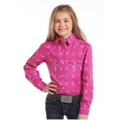 Panhandle Girl's Pink Tee Pee Design Snap Western Shirt
