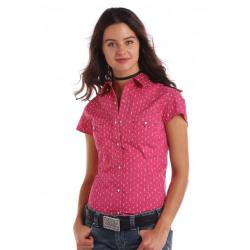 Panhandle Red Label Ladies Silver Pink Cap Sleeve Shirt