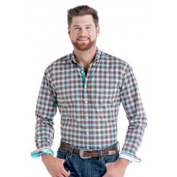 Panhandle Men's Brown Turquoise Button Western Shirt