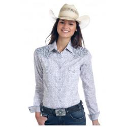 Panhandle Ladies Grey White Print Snap Front Western Shirt