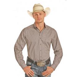 Panhandle Tuf Cooper Brown Cream Circle Print Western Shirt