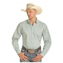 Panhandle Tuf Cooper Poplin White Grey Teal Geo Print Western Shirt