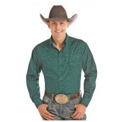 Panhandle Men's Button Down Teal Black Print Shirt