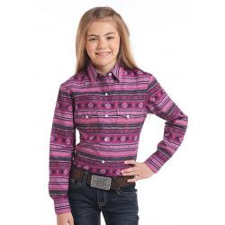 Panhandle Girl's Pink Black Aztec Snap Western Blouse