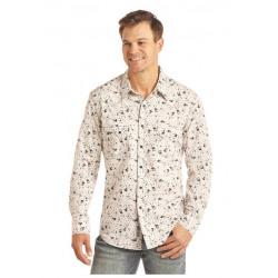 Rock n Roll Cowboy Black White Guitar Print Shirt