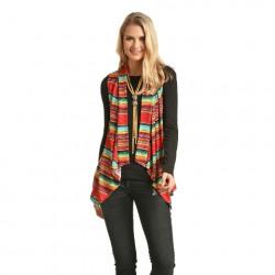 Rock & Roll Cowgirl Multi Colour Strip Print Vest