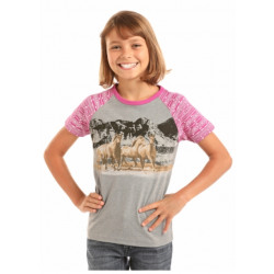 Rock & Roll Cowgirl Pink Horse Aztec Sleeves T Shirt
