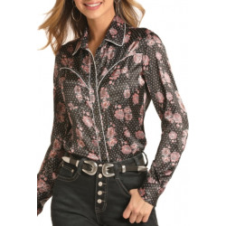 Rock & Roll Cowgirl Peony Print Long Sleeve Button Shirt