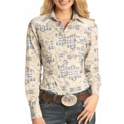 Rock & Roll Cowgirl Bleached Washed Aztec Snap Shirt