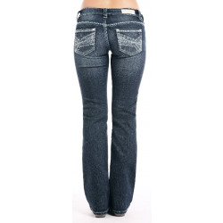 Rock and Roll Ladies Riding Abstract Feather Embroidery Denim