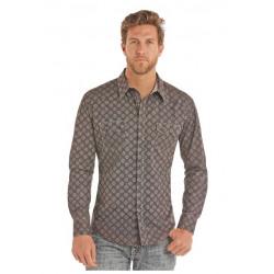 Rock N Roll Cowboy Poplin Brown Plaid Shirt