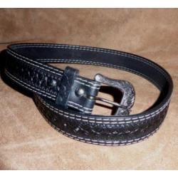 Ranger Men's Hand Tooled Carved Black Belt