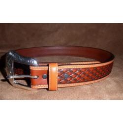 Ranger Men's Leather Tooled Diamond Cut Congnac Belt