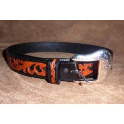 Ranger Mens Leather Tooled Natural Leaf On Black Belt