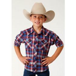 Roper Boy's Red Navy Blue Plaid Western Shirt