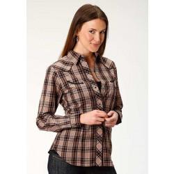 Roper Ladies Black Rust Plaid Western Shirt