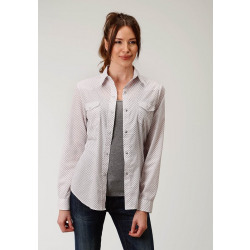 Roper Ladies White Wine Diamond Print Snap Shirt