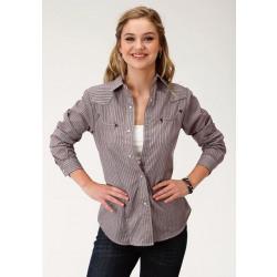 Roper Women's Wine Striped Western Snap Shirt
