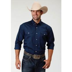 Roper Men's Long Sleeve Snap Front Navy Western Shirt