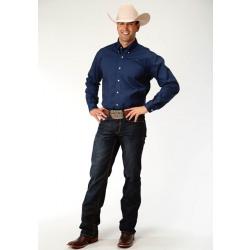 Roper Men's Long Sleeve Solid Poplin Navy Western Shirt