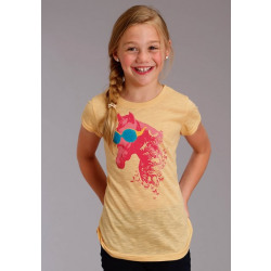 Roper Girl's Short Sleeve Horse Print T Shirt