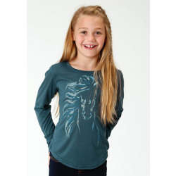 Roper Girl's Long Sleeve Blue Horse Print Shirt
