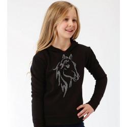 Roper Girl's Black Hoodie With Crystal Horse Head