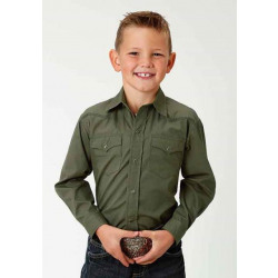 Roper Boys Solid Poplin Olive Western Shirt