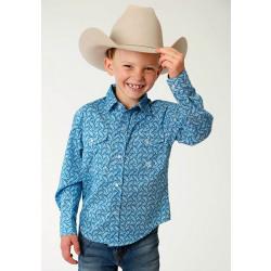 Roper Boys Blue Paisley Snap Front Western Shirt