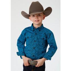 Roper Boy's Blue Paisley Western Shirt