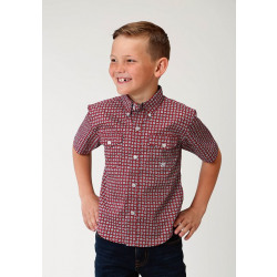 Roper Boys Red Geo Short Sleeve Shirt