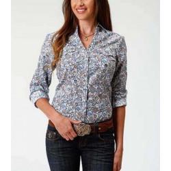 Roper Ladies Blue Paisley Snap Down Western Shirt