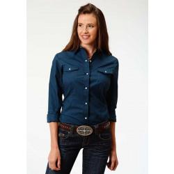 Roper Ladies Navy Snap Front Western Shirt