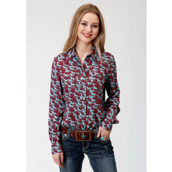 Roper Ladies Long Sleeve Blue Horse Print Western Shirt