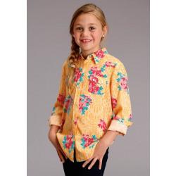 Roper Girls Long Sleeve Yellow Floral Print Snap Western Shirt