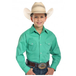 Panhandle Rough Stock Boy's Kelly Green Vintage Pint Snap Shirt
