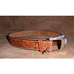 Twisted X Hand Tooled Floral Tooled Natural Leather On Black Belt