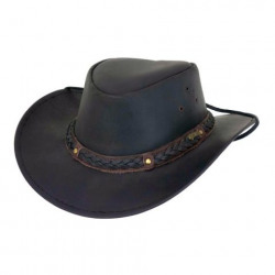 Outback Wagga Wagga Leather Hat Black