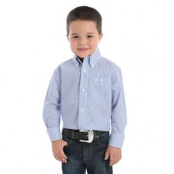 Wrangler Boys Classic Fit Blue White Western Shirts
